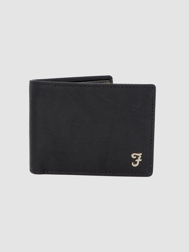 BURNLEY WASHED LEATHER BI FOLD WALLET IN DEEP BLACK