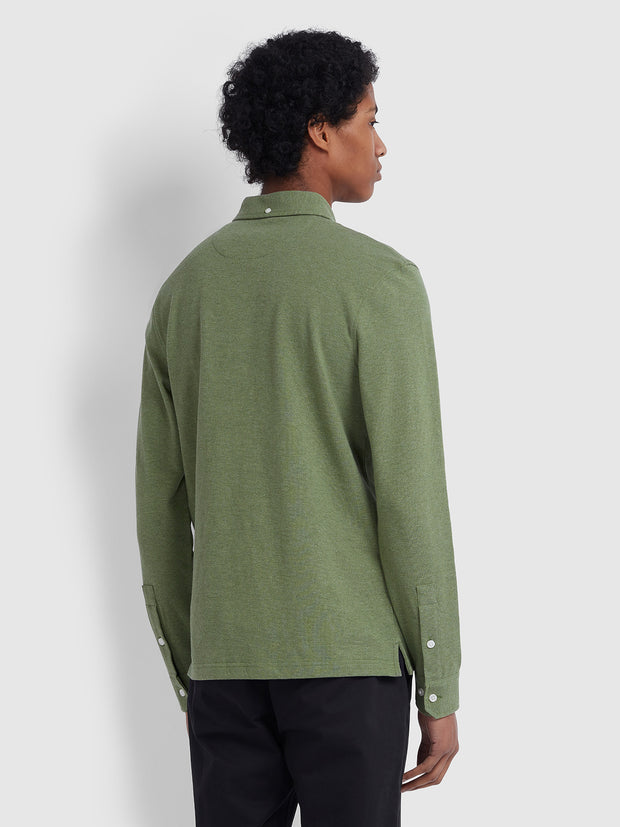 RICKY SLIM FIT LONG SLEEVE POLO SHIRT IN WINTER BALSAM MARL
