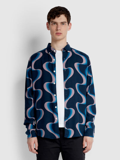 SEARLING CASUAL FIT PRINTED SHIRT IN YALE