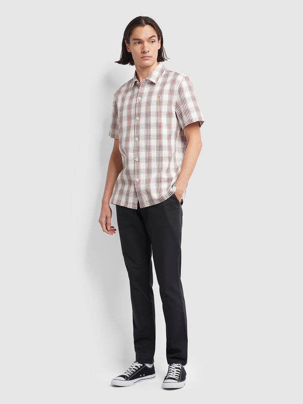 Crockett Casual Fit Short Sleeve Check Shirt In Russet