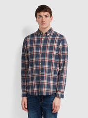 Steen Slim Fit Brushed Cotton Check Shirt In Farah Teal Marl