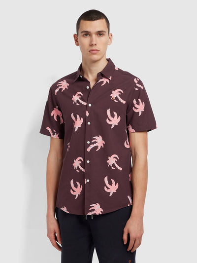 Elena Casual Fit Short Sleeve Palm Print Organic Cotton Shirt In Purple Dusk