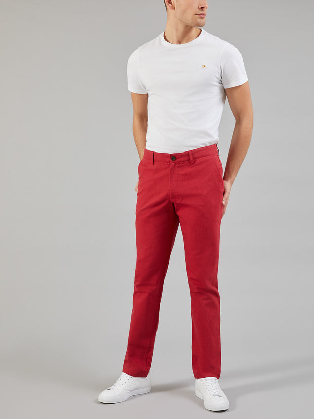 ELM REGULAR FIT COTTON HOPSACK TROUSERS IN FIRE BRICK