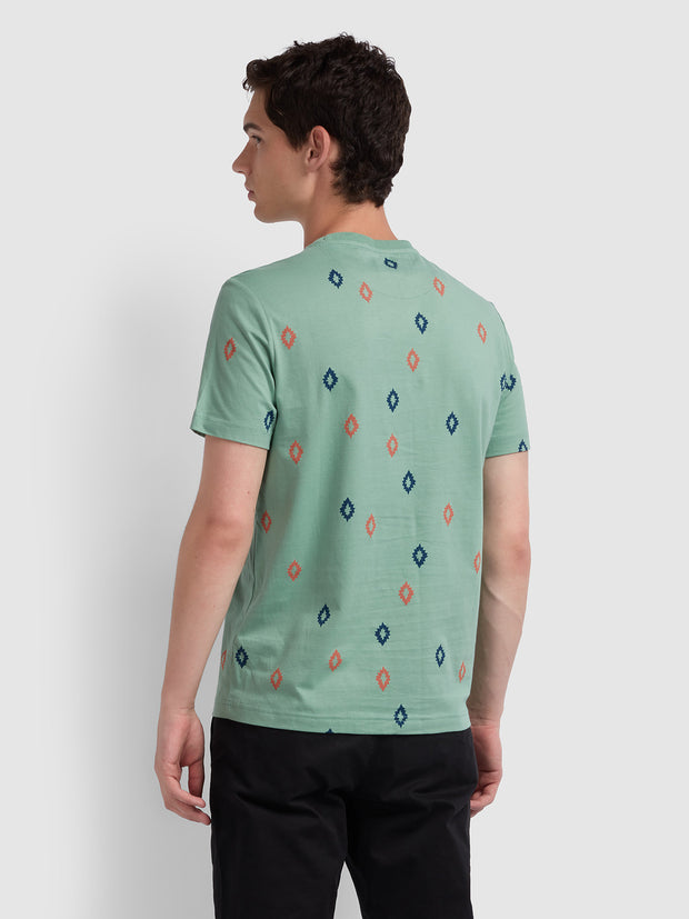 Chaffee Slim Fit Diamond Print T-Shirt In Jade Green