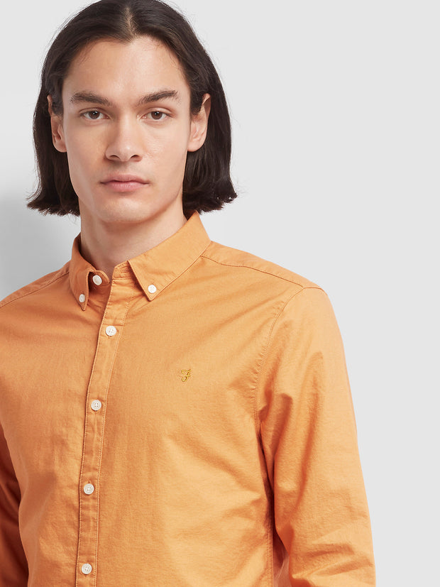 Brewer Slim Fit Oxford Shirt In Pale Orange