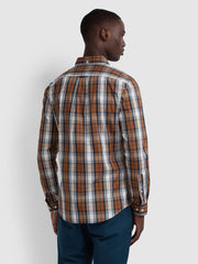 BREWER SLIM FIT TARTAN OXFORD SHIRT IN RUSSET