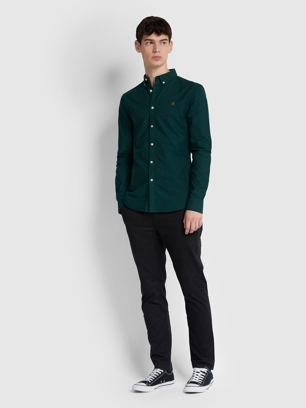 BREWER SLIM FIT OXFORD SHIRT IN BRIGHT EMERALD