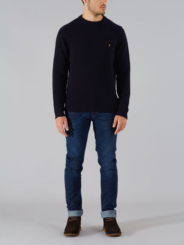 HARLEY WOOL BLEND CREW NECK JUMPER IN TRUE NAVY MARL