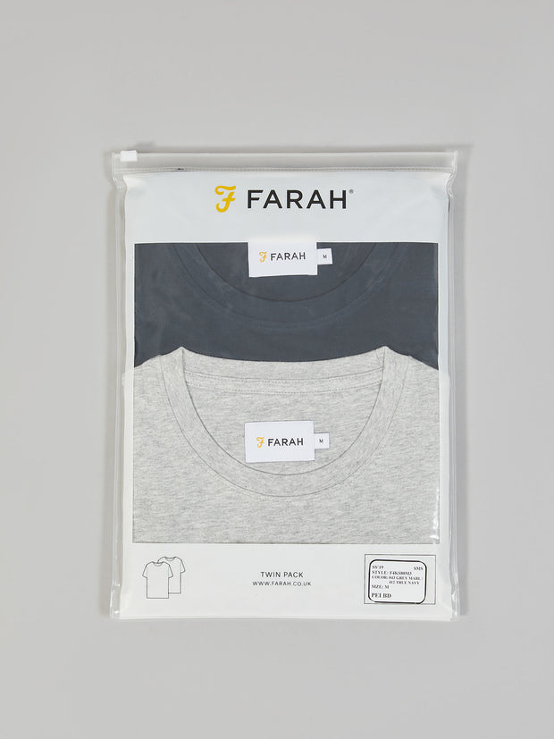 Denny Slim Fit Twin Pack T-Shirt In Grey Marl/True Navy