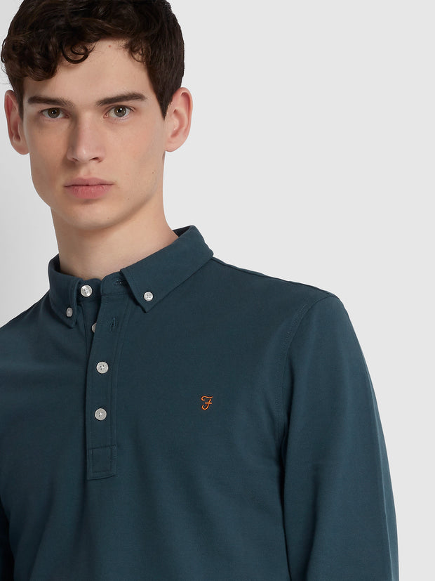 Ricky Slim Fit Long Sleeve Polo Shirt In Tar
