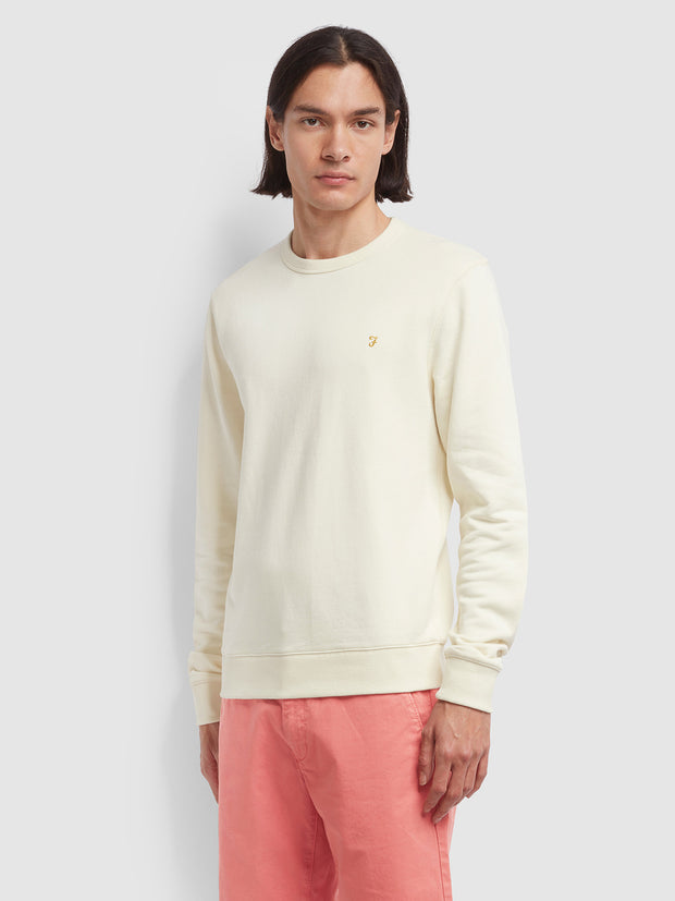 Tim Cotton Crew Neck Sweatshirt In Cream