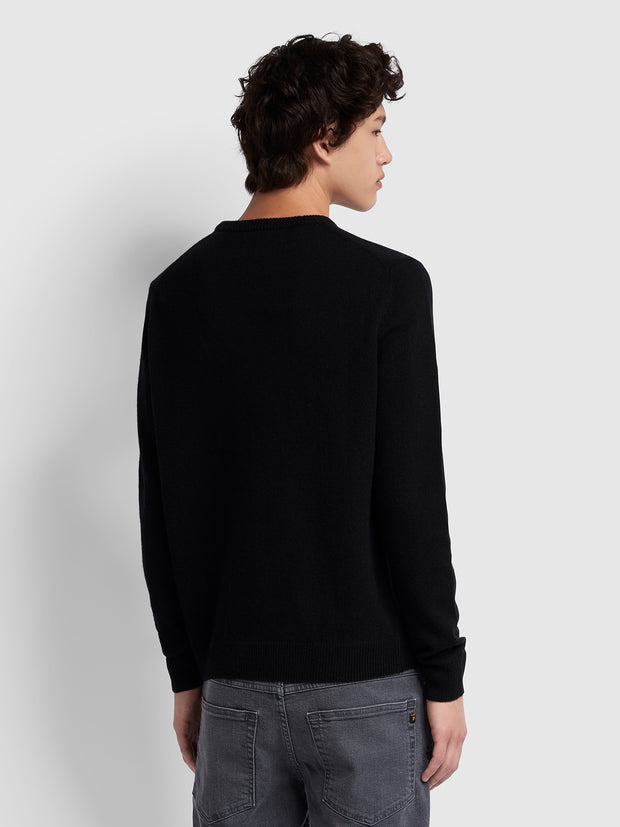 ROSECROFT LAMBSWOOL CREW NECK JUMPER IN BLACK