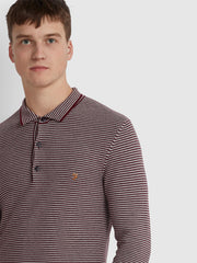Banbury Slim Fit Striped Long Sleeve Polo Shirt In Farah Red