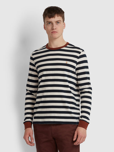 BELGROVE SLIM FIT STRIPED LONG SLEEVE T-SHIRT IN BURNT RED
