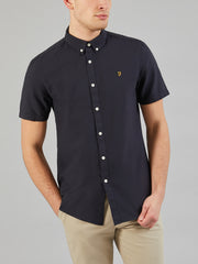 Brewer Slim Fit Short Sleeve Oxford Shirt In Navy