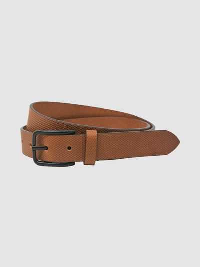Trent Textured Leather Belt In Burnt Almond
