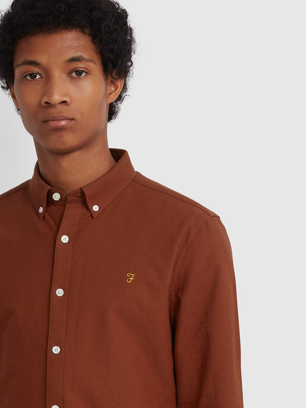 Brewer Slim Fit Oxford Shirt In Burnt Red
