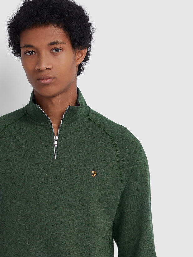 JIM COTTON QUARTER ZIP SWEATSHIRT IN DEEP OLIVE MARL