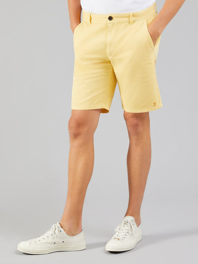 HAWK DYED TWILL CHINO SHORTS IN ACID YELLOW