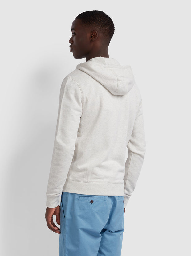 Kyle Cotton Zip Through Hoodie In Chalk Marl