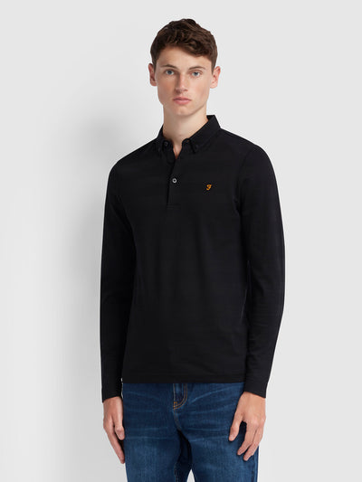 STAPLETON SLIM FIT LONG SLEEVE STRIPED POLO SHIRT IN BLACK