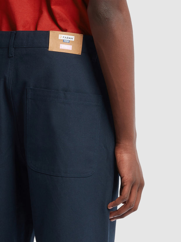Farah X YMC Hopsack Trousers In True Navy