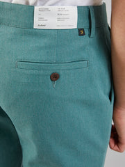 ELM REGULAR FIT COTTON HOPSACK TROUSERS IN GREEN BISCUIT