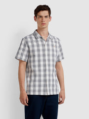 Crockett Casual Fit Short Sleeve Check Shirt In True Navy