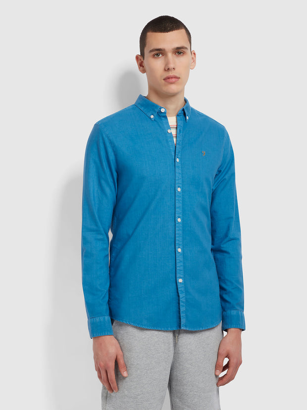Brewer Slim Fit Dyed Organic Cotton Oxford Shirt In Maritime Blue