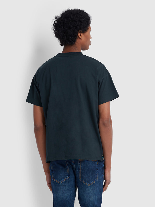 TODD CASUAL FIT PRINTED T-SHIRT IN TRUE NAVY