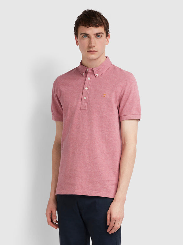 Ricky Slim Fit Polo Shirt In Dusty Rose Marl