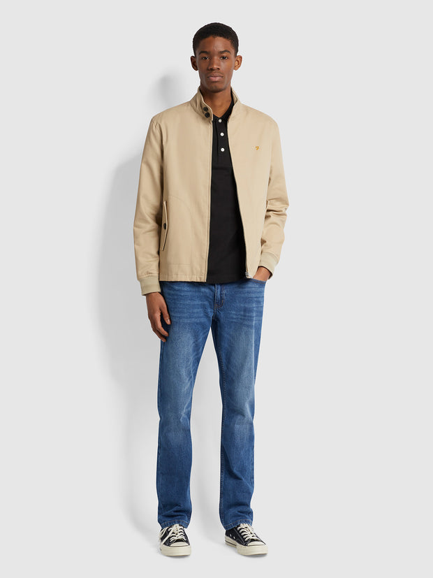 Hardy Organic Cotton Harrington Jacket In Light Sand