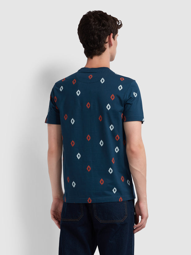 Chaffee Slim Fit Diamond Print T-Shirt In Farah Teal