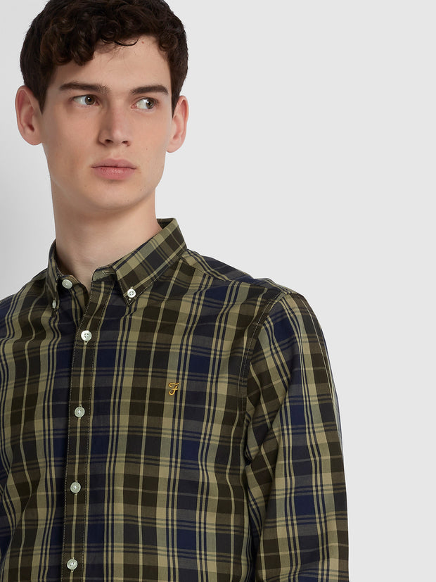 BREWER SLIM FIT TARTAN OXFORD SHIRT IN BROWNIE