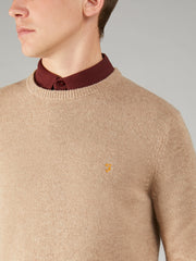 Rosecroft Lambswool Crew Neck Jumper In Lightsand Marl