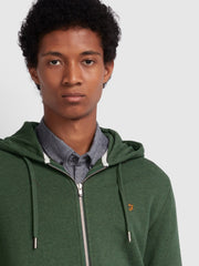 KYLE COTTON ZIP THROUGH HOODIE IN DEEP OLIVE MARL