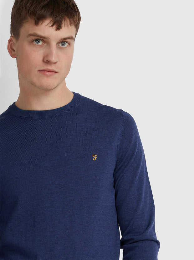 MULLEN MERINO WOOL CREW NECK JUMPER IN BLUE PEONY MARL