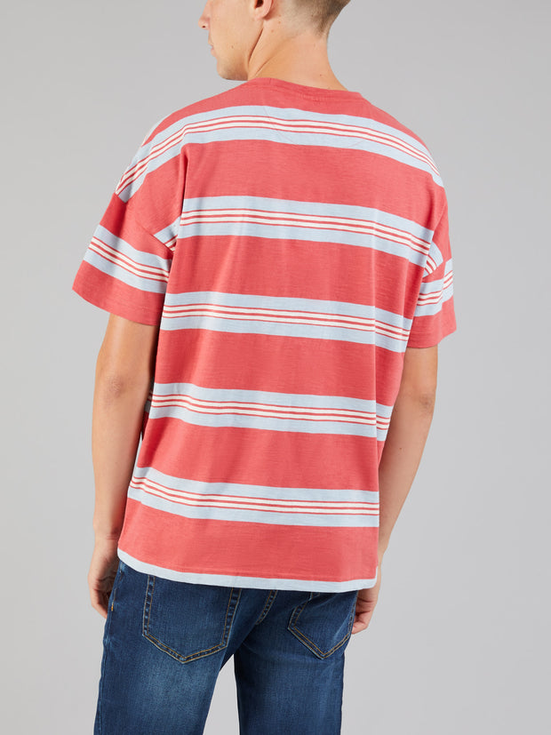 ELKIN OVERSIZED STRIPED T-SHIRT IN RED COAT