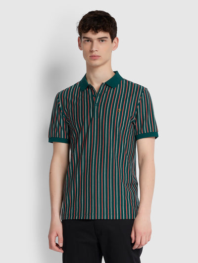 ALVIN SLIM FIT STRIPED POLO SHIRT IN BRIGHT EMERALD