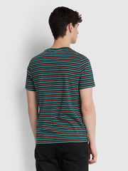 Webster Slim Fit Striped T-Shirt In Bright Emerald