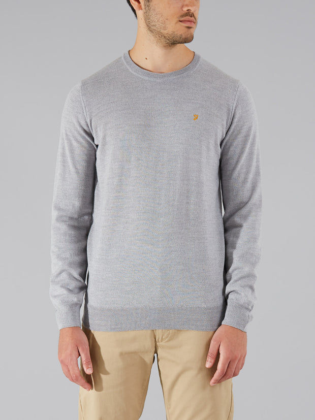 MULLEN MERINO WOOL CREW NECK JUMPER IN RAIN HEATHER