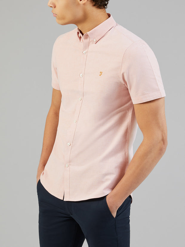 Brewer Slim Fit Short Sleeve Oxford Shirt In Peach