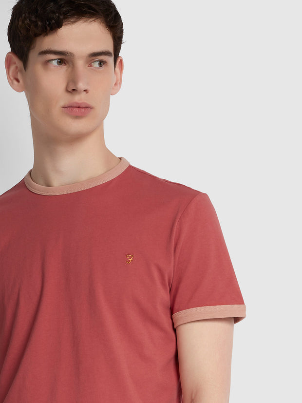 Groves Slim Fit Ringer T-Shirt In Rebel Pink