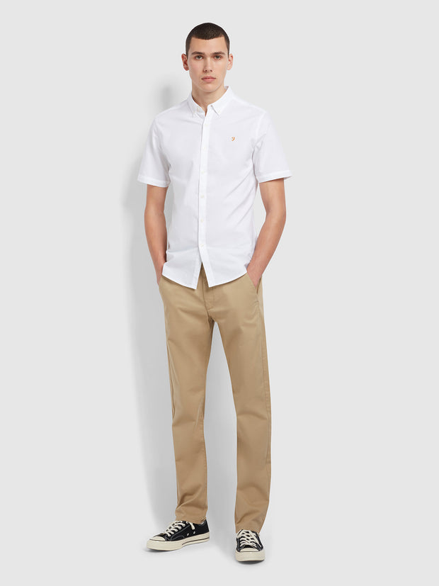 Brewer Slim Fit Short Sleeve Organic Cotton Oxford Shirt In White