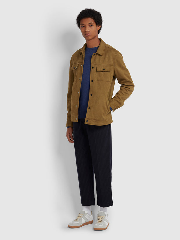 CLEETHORPES FAUX SUEDE JACKET IN TEAK