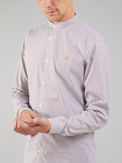 Handford Tailored Slim Fit Striped Grandad Shirt In Farah Red