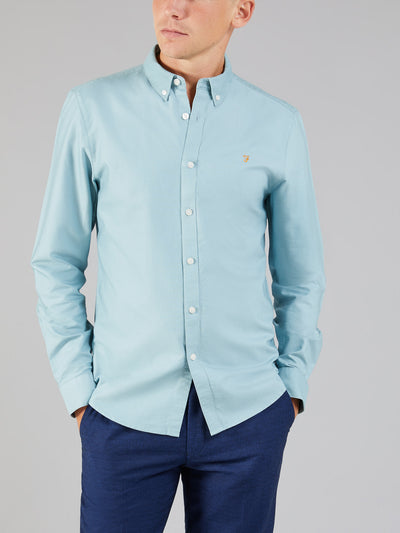 Brewer Slim Fit Oxford Shirt In Light Turquoise