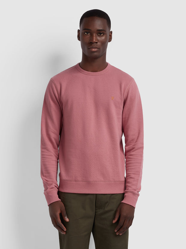 TIM COTTON CREW NECK SWEATSHIRT IN DUSTY ROSE
