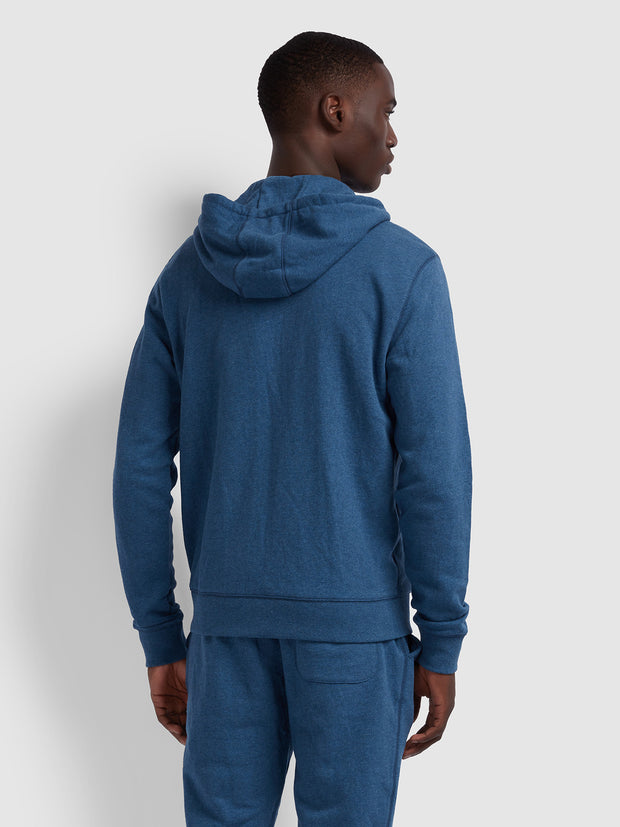 Kyle Cotton Zip Through Hoodie In Dusky Blue Marl