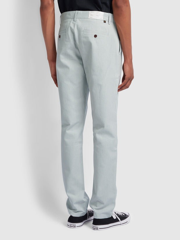 ELM REGULAR FIT COTTON HOPSACK TROUSERS IN GREY MIST